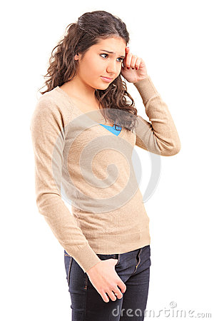 Sad female teenager