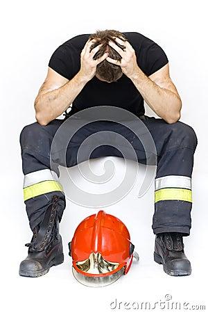 Sad fireman