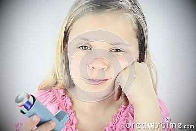 Sad Girl With Asthma Inhaler