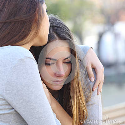Free Sad Girl Crying And A Friend Comforting Her Stock Photos - 52383353
