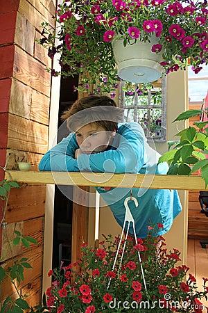 Sad girl in the terrace