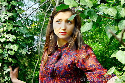 Sad girl and trees.