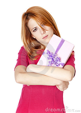 Free Sad Girl With Present Box. Stock Photos - 22114173