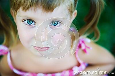 Sad liitle girl close-up