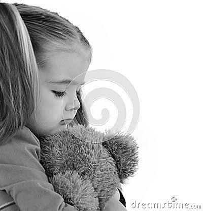 Sad Little Child Holding Teddy Bear Stock Photo Image