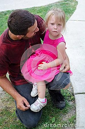sad little girl after a fall