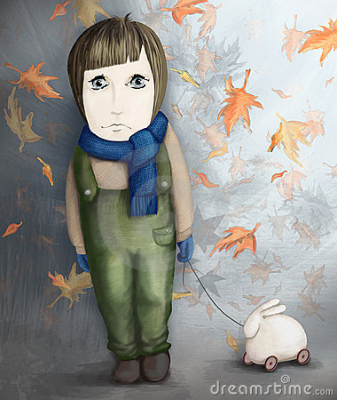 Sad little girl with rabbit toy