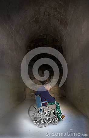 Sad Lonely Senior Elderly Man in Wheelchair, Aging