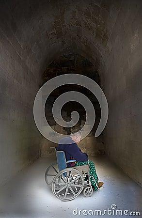 Sad Lonely Senior Elderly Man in Wheelchair, Aging