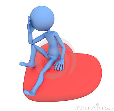 Sad lover sitting on red heart. 3d illustration