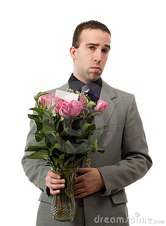 Sad Man With Flowers