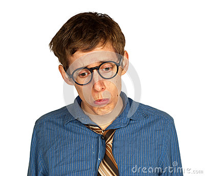 Sad Man with Glasses and Tie