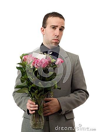 Free Sad Man With Flowers Royalty Free Stock Photo - 7943315