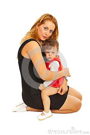 Sad mother with toddler girl