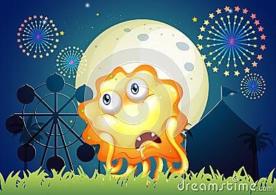 A sad orange monster near the carnival