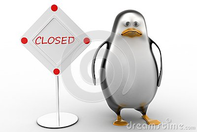 Sad Penguin with  closed sign board