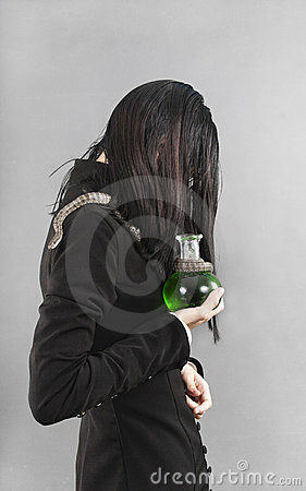 Sad person with snake holding poison