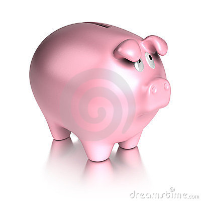Sad piggy bank stock photo image 23576780 for How to make a piggy bank you can t open
