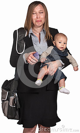 Sad Professional Woman With Baby