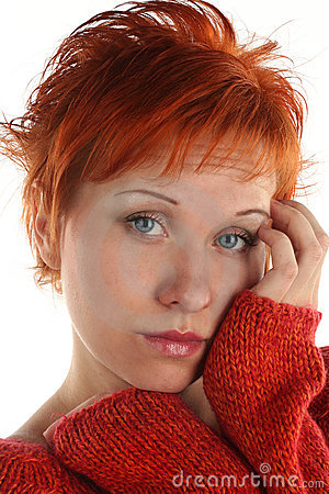 Free Sad Red Haired Woman Royalty Free Stock Image - 5206086