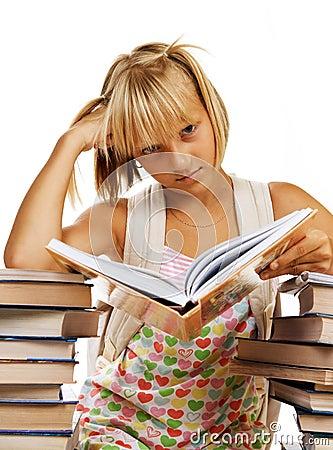 Sad School girl with Books