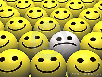 Sad smiley in a crowd of happy smileys