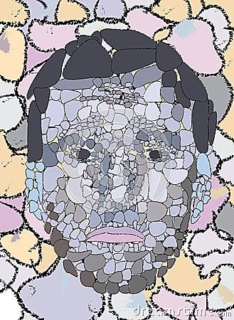 Sad stone face