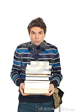 Sad student male carrying books