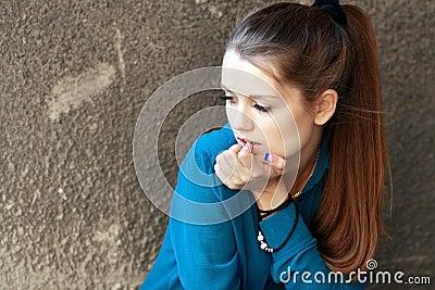 Sad teenage girl Stock Photo