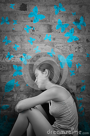Free Sad Teenage Girl With Blue Butterflies Stock Photography - 45132322