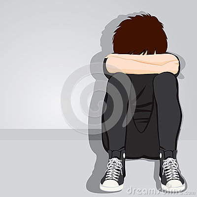 Sad Teenager Boy Desperate Stock Vector - Image: 40834196