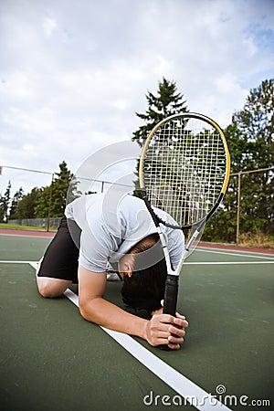 Free Sad Tennis Player After Defeat Stock Images - 8291494