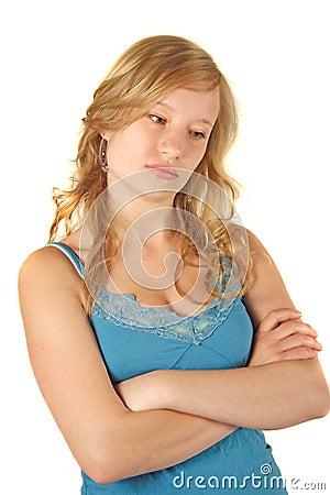 Sad and unhappy girl