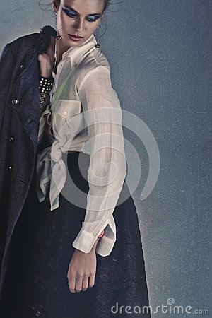 Sad woman with coat
