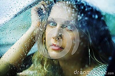 Sad Woman In A Car In The Rain Royalty Free Stock Photos ...
