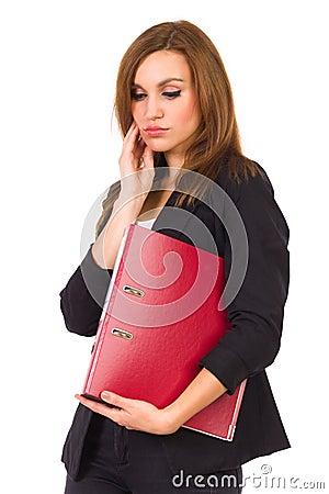 Sad woman with ring binder.