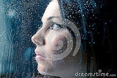 Sad Woman On Window In The Rain Stock Photos - Image: 30550373