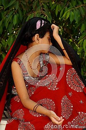Sad young Asian girl