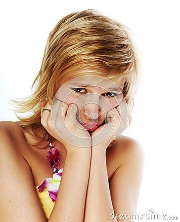 Sad young blonde