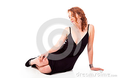 Sad young woman reclining