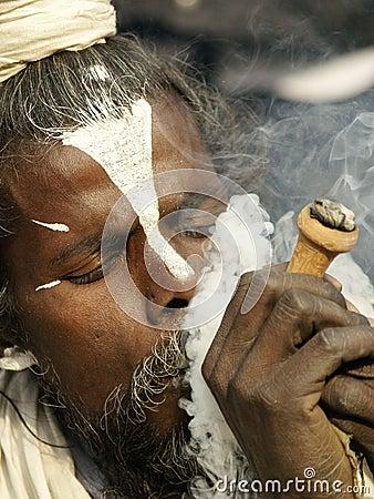 Free Sadhu, A Saint Enjoying Marijuana In Shivaratri Festival Royalty Free Stock Photo - 110385415