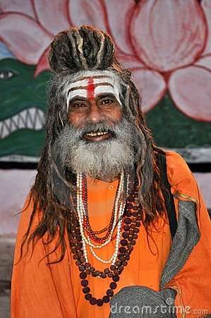 Sadhu (holy man) in Varanasi, India Editorial Photography