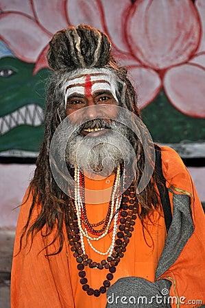 Sadhu (holy man) in Varanasi, India Editorial Photography