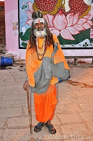 Sadhu (holy man) in Varanasi, India Editorial Image