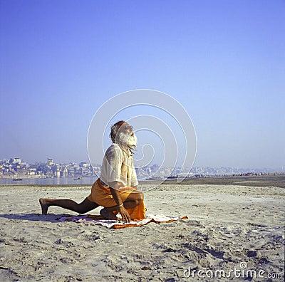 Sadhu Sun Salutation Editorial Stock Photo