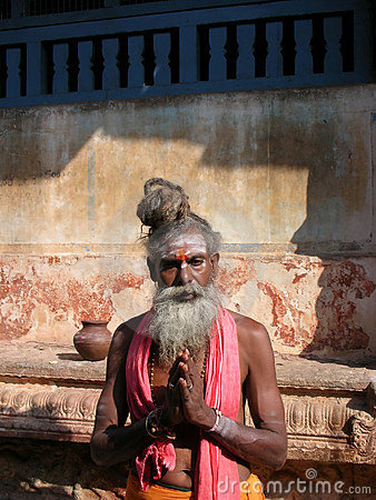 Sadhu in a Temple Editorial Stock Image