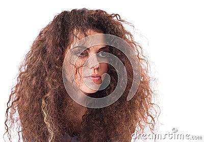 Sadness curly-headed girl