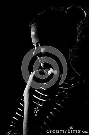 Sadness girl in black