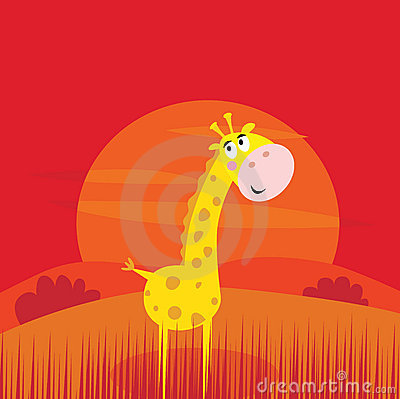Safari animals - cute giraffe and red sunset scene