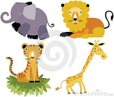 Safari cartoon animal vector set